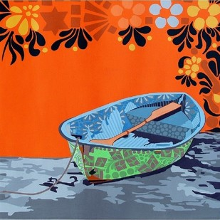 Nature Boat 1 by Barkha jain, Decorative Painting, Acrylic on Canvas, Orange color