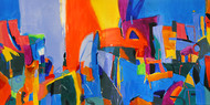 Untitled by RAVEE SONGIRKAR, Impressionism Painting, Acrylic on Canvas, Cyan color