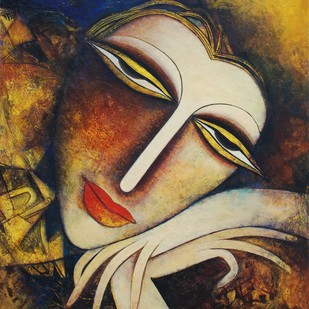 Untitled by Dhrubajyoti Baral, Decorative Painting, Tempera on Canvas, Brown color