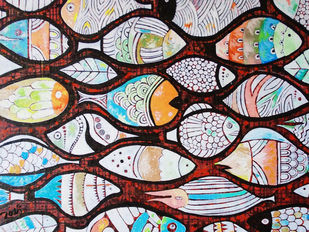 Migration to the Unknown Seas by Studio Zaki, Decorative Painting, Acrylic on Canvas, Brown color