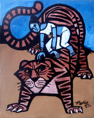 tiger ride by Gujjarappa B G, Conceptual Painting, Acrylic & Ink on Canvas, Brown color