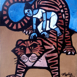 tiger ride Digital Print by Gujjarappa B G,Conceptual