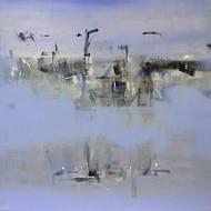 Untiteled by RAVHI SONGIRKAAR, Impressionism Painting, Acrylic on Canvas, Cyan color