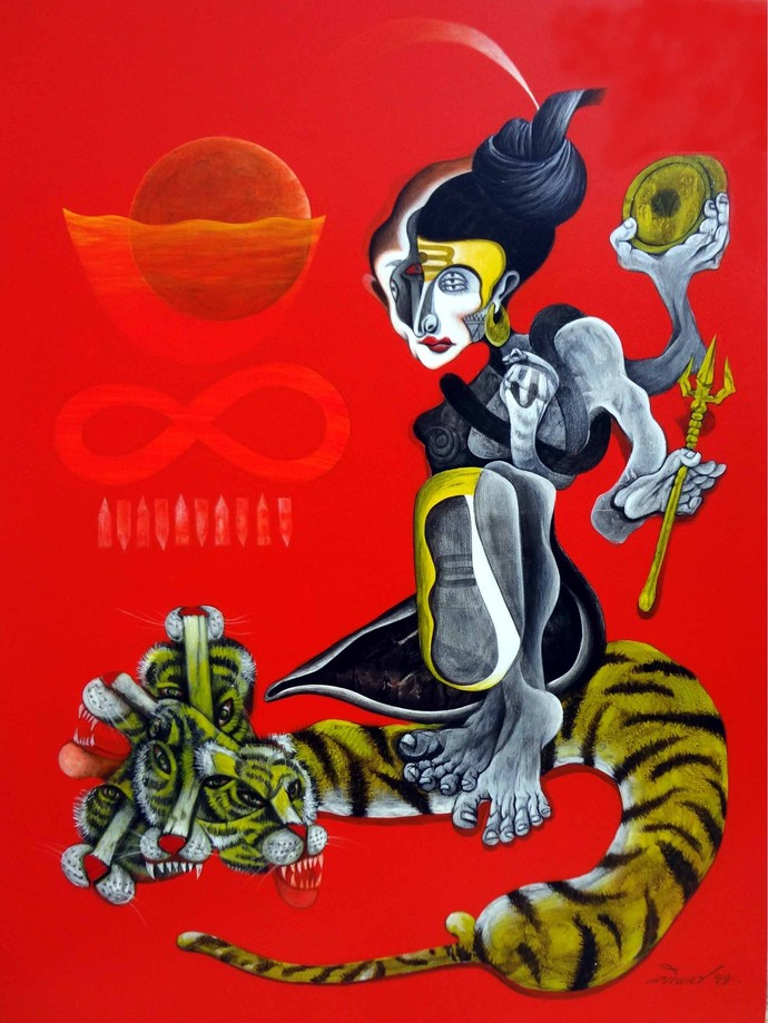 Shiva II by Mahesh Pal Gobra, Expressionism Painting, Acrylic on Canvas, Red color