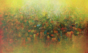 View of a Village by M Singh, Impressionism Painting, Acrylic on Canvas, Brown color
