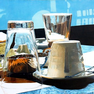 Sunday Breakfast by Sripriya Mozumdar, Photorealism Painting, Oil on Canvas, Cyan color