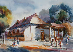 Morning Glory by GN Madhu, Impressionism Painting, Watercolor on Paper, Brown color