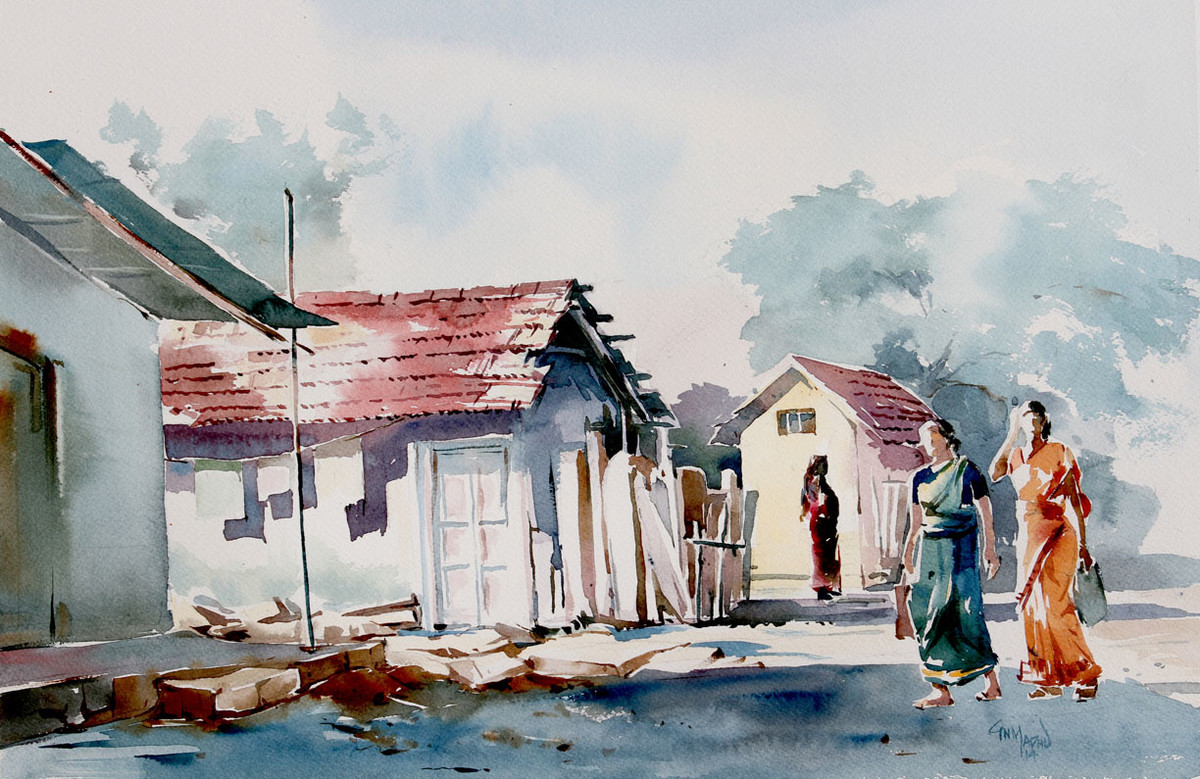 Village Scene by GN Madhu, Impressionism Painting, Watercolor on Paper, Gray color