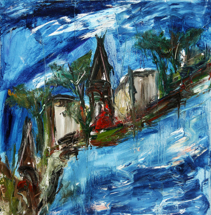 Mindscape by Vikash Kalra, Expressionism Painting, Oil on Canvas, Blue color