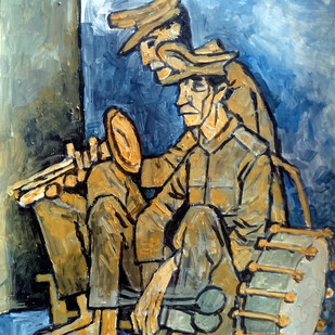 tired musicians Digital Print by Gujjarappa B G,Expressionism