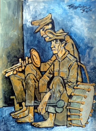 tired musicians by Gujjarappa B G, Expressionism Painting, Acrylic & Ink on Paper, Yellow color