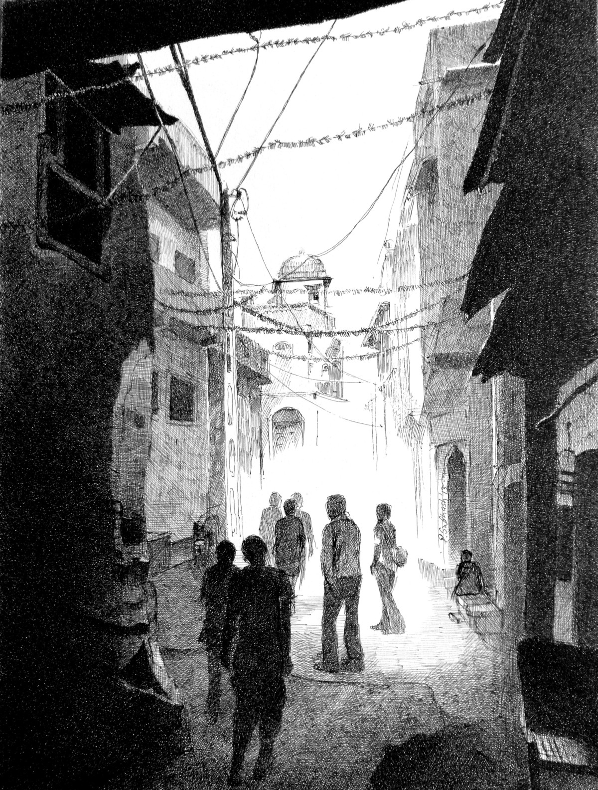 Dakor Street by Subhash Parmar, Illustration Drawing, Ink on Paper, Gray color