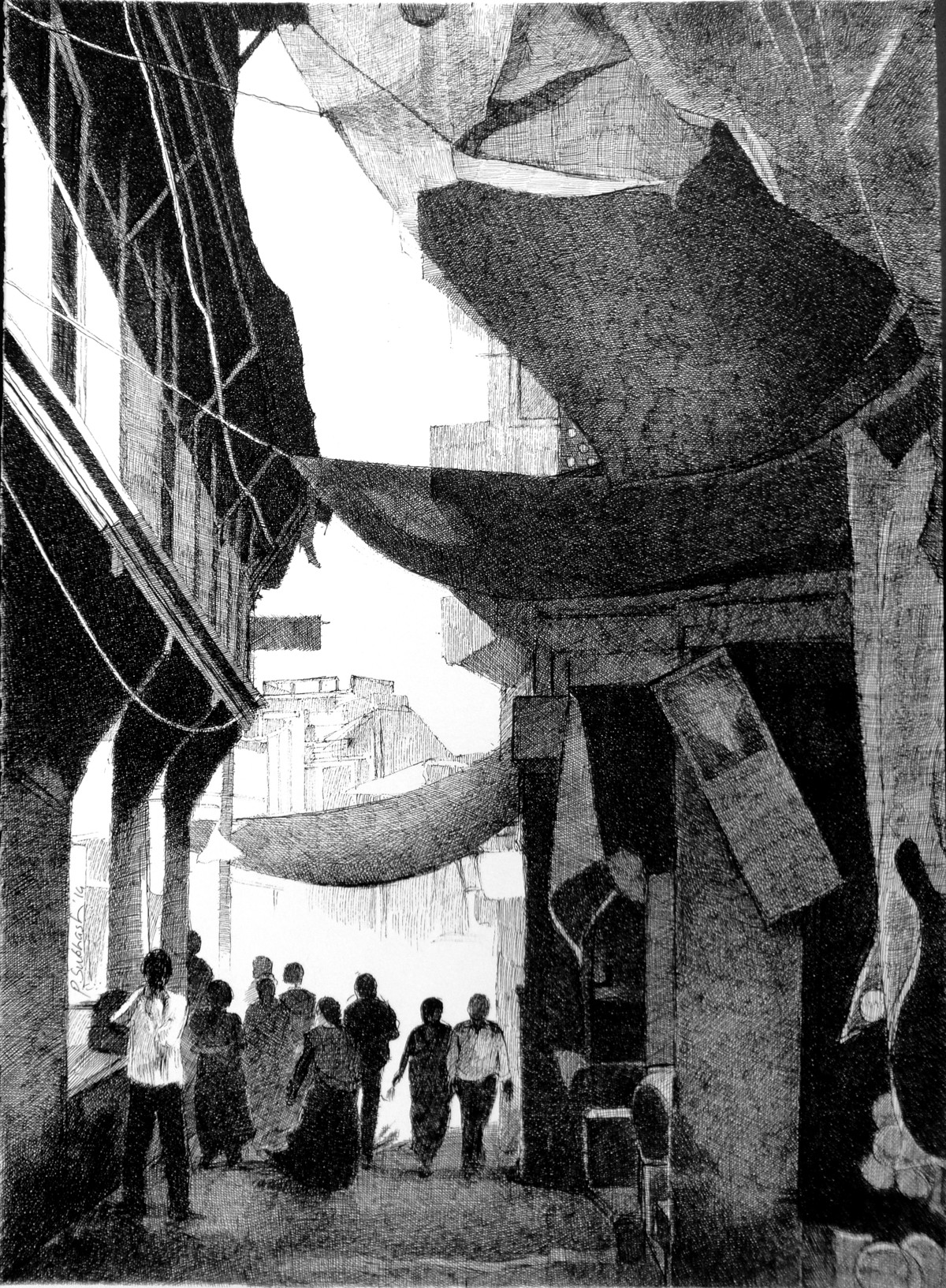 Dakor Street 1 by Subhash Parmar, Illustration Drawing, Ink on Paper, Gray color
