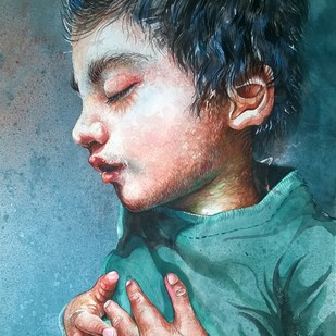 Innocence by Avinash Kumar, Realism Painting, Watercolor on Paper, Green color