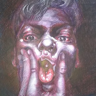 Frustrated? by Avinash Kumar, Illustration Drawing, Pen on Paper, Brown color