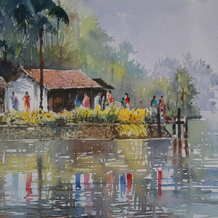 Village Beauty 2 by Mopasang Valath, Impressionism Painting, Watercolor on Paper, Brown color