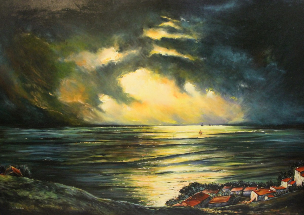 Twilight by Nidhi Rajput Bhatia, Impressionism , Oil on Linen, Green color