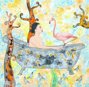 Bathtub And A Flamingo by Abhisek Dey, Fantasy Painting, Acrylic on Canvas, Beige color