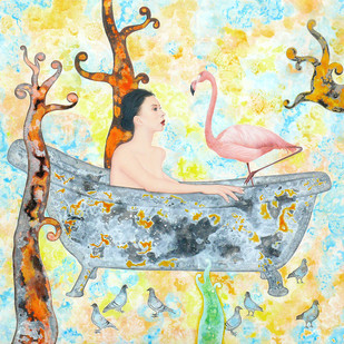 Bathtub And A Flamingo Digital Print by Abhisek Dey,Fantasy