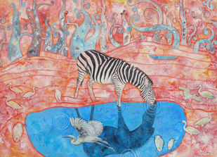 Drinking Zebra by Abhisek Dey, Fantasy Painting, Acrylic on Canvas, Brown color