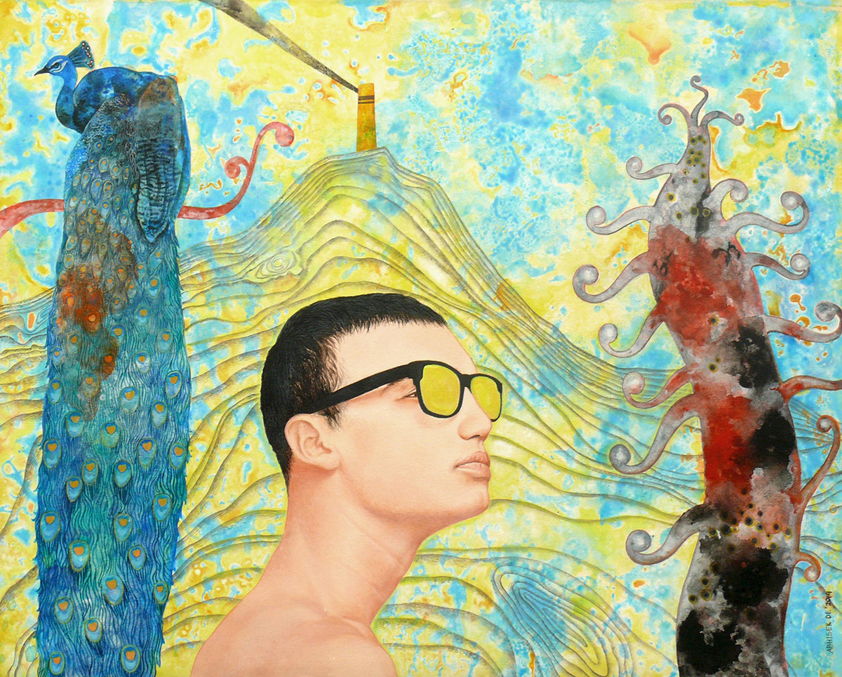 Mr Misa Yellow Glasses And More by Abhisek Dey, Fantasy Painting, Acrylic on Canvas, Beige color