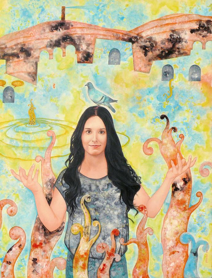 Fan of Mr Burman by Abhisek Dey, Fantasy Painting, Acrylic on Canvas, Beige color