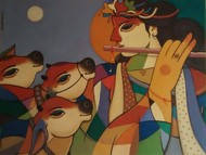 King-Queen by Avinash Deshmukh, Decorative Painting, Acrylic on Canvas, Brown color