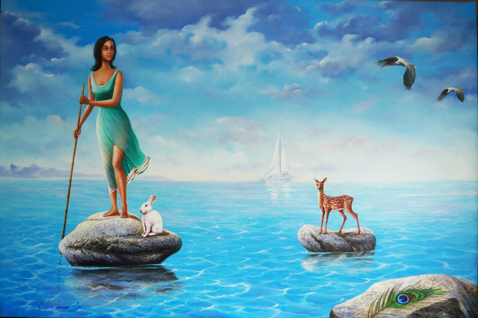 Sea Voyage by Sabir Haque, Surrealism Painting, Acrylic on Canvas, Cyan color