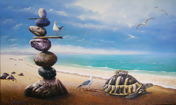 Adoption by Sabir Haque, Surrealism Painting, Acrylic on Canvas, Cyan color