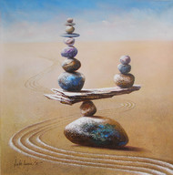 Balance by Sabir Haque, Surrealism Painting, Acrylic on Canvas, Beige color