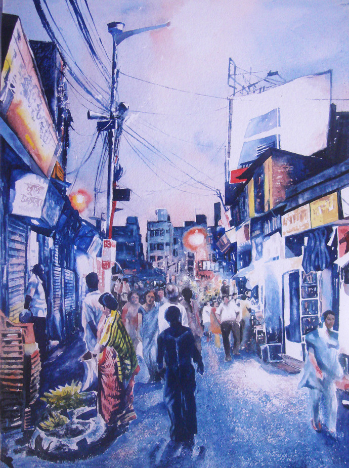 A Lane Of Old City by Surajit Chakraborty, Impressionism Painting, Watercolor on Paper, Blue color