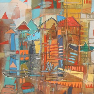 composition 2 by Surajit Chakraborty, Impressionism Painting, Acrylic on Paper, Brown color