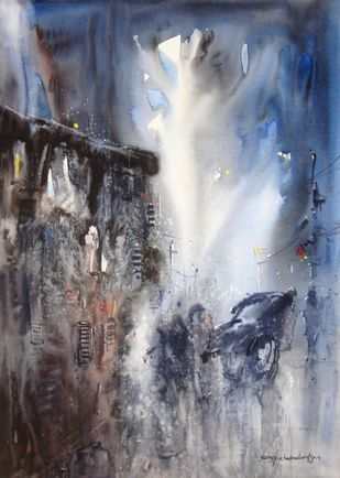 Man With Rickshaw In Rain by Surajit Chakraborty, Impressionism Painting, Watercolor on Paper, Gray color