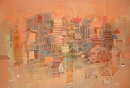 composition 3 by Surajit Chakraborty, Impressionism Painting, Watercolor on Paper, Brown color