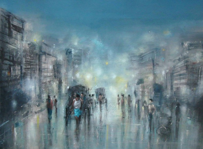 Kolkata Rain by Surajit Chakraborty, Impressionism Painting, Acrylic on Paper, Green color