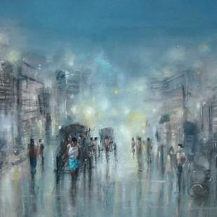 Kolkata Rain by Surajit Chakraborty, Impressionism Painting, Acrylic on Paper, Green color