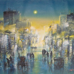 Mumbai Thane City Lane by Surajit Chakraborty, Impressionism Painting, Acrylic on Canvas, Green color