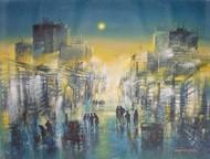 Mumbai Thane City Lane by Surajit Chakraborty, Impressionism Painting, Acrylic on Canvas, Green color