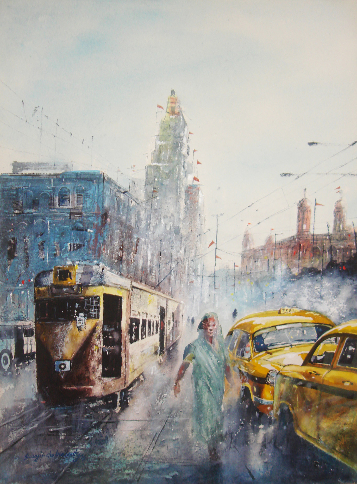Kolkata Tram And Taxi by Surajit Chakraborty, Impressionism Painting, Watercolor on Paper, Gray color
