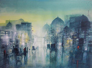 Lane Of Light And Passion by Surajit Chakraborty, Impressionism Painting, Acrylic on Paper, Green color
