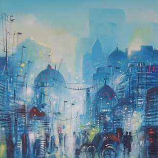 City Lane 1 by Surajit Chakraborty, Impressionism Painting, Acrylic on Paper, Blue color