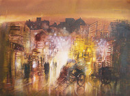 An Evening City Lane by Surajit Chakraborty, Impressionism Painting, Acrylic on Paper, Brown color