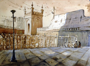 Mecca Masjid by Krishnendu Halder, Impressionism Painting, Watercolor on Paper, Beige color
