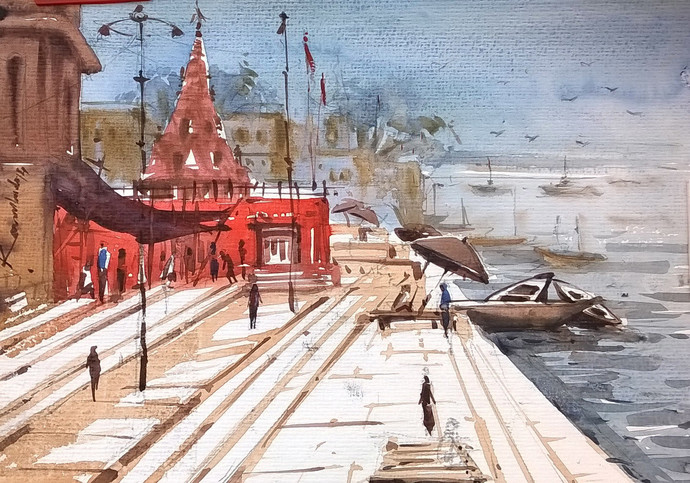 Varanasi by Krishnendu Halder, Impressionism Painting, Watercolor on Paper, Brown color