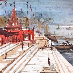 Varanasi by Krishnendu Halder, Impressionism Painting, Watercolor on Paper, Brown color