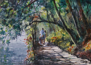 Village Beauty 3 by Mopasang Valath, Impressionism Painting, Watercolor on Paper, Green color