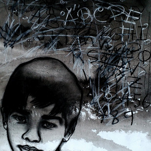 Childhood by Avi Roy, Illustration Drawing, Ink & Pastels on Paper, Gray color