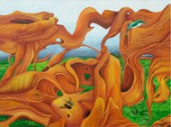 Drift Wood by Geetha Ramasesh, Surrealism Painting, Oil on Canvas, Brown color