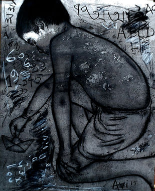 Hope to meet at Infinety by Avi Roy, Illustration Drawing, Ink & Pastels on Paper, Blue color