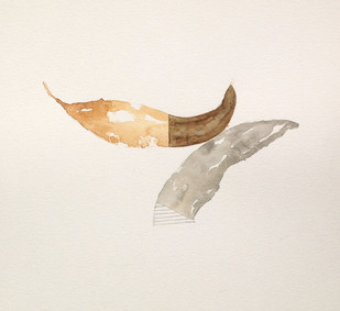 Untitled 1452 by Arvind Patel, Minmalism Painting, Watercolor on Paper, Beige color